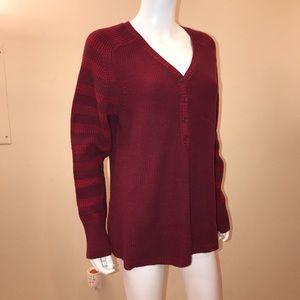 Eddie Bauer Cotton Sweater V Neck Henley Dark Red